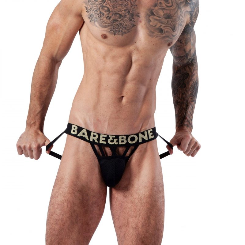 Man wearing Mens Gold Web Jockstrap by Bare&Bone from the front